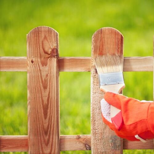 Stain Gets Applied to a Wood Fence.
