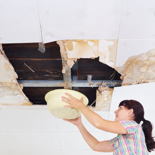 Woman holding a bucket and collecting water from a leak in the ceiling.